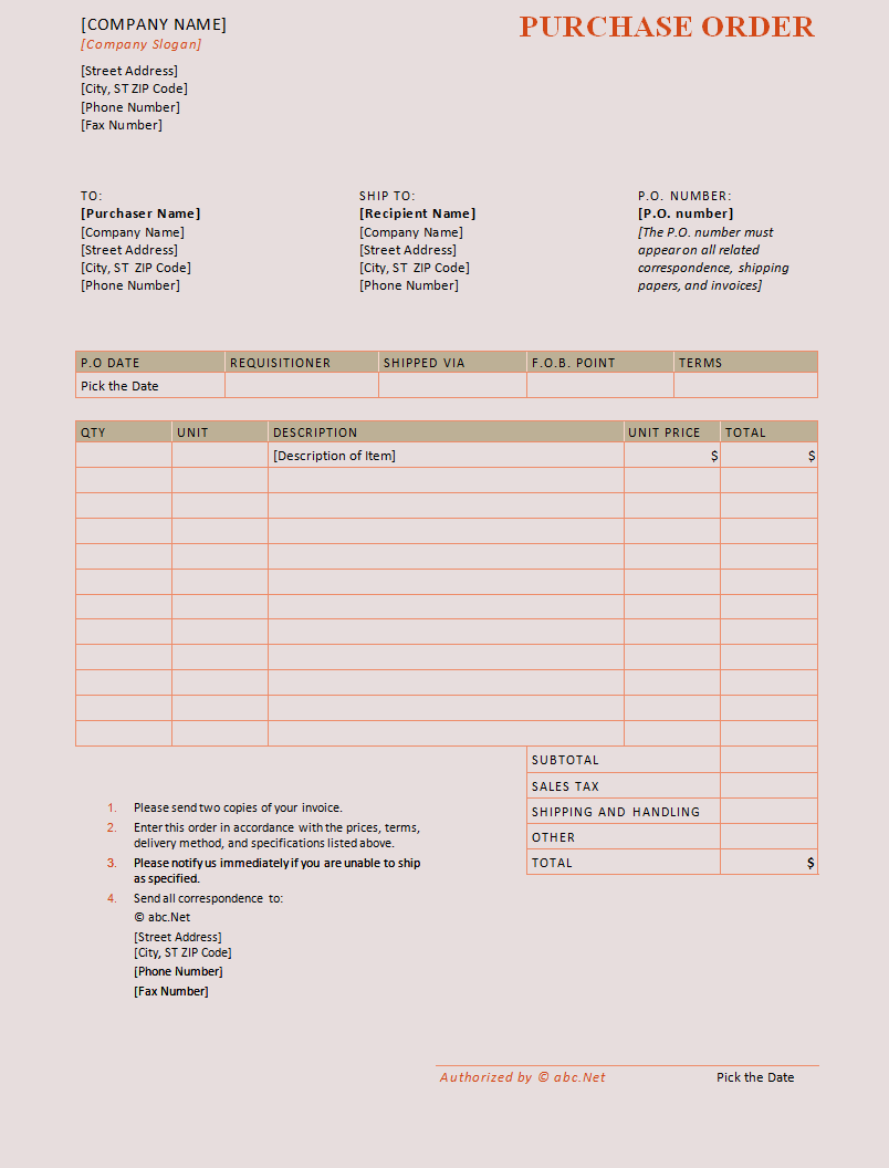 purchase order sheet template