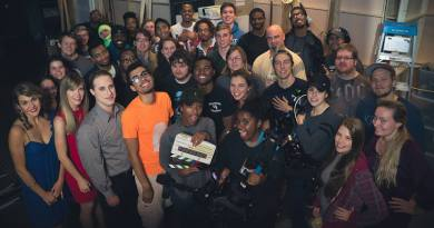 The film's cast and crew, on set at Regent University, Virginia Beach, VA on Oct. 14, 2016. (Aren Woods)