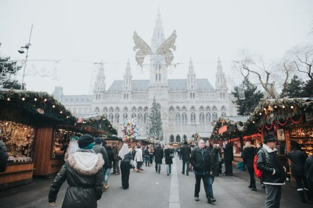 A festive market bustles with Christmas shoppers in Vienna, Austria. (Alisa Anton)