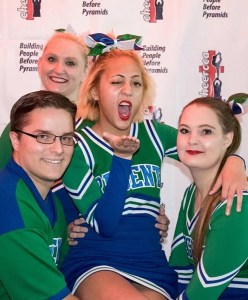 Cheerleader Emmett Murphy poses at nationals in Fayetteville, where they took second place. March 2018. (Aubrea).