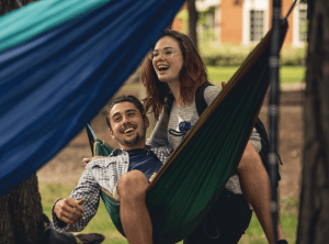 Students hammocking on-campus, Virginia Beach, VA, 2017. (Kendall Holbrook)