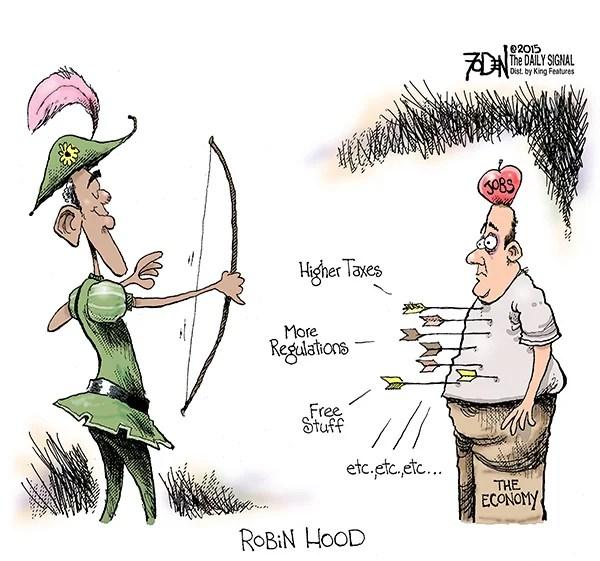 Cartoon Obama Is Robin Hood