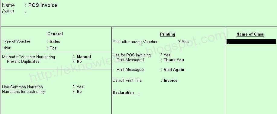 How to Create Single Payment POS Invoice in Tally ERP - creating a voucher