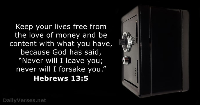 Money Quotes Wallpaper Hebrews 13 5 Bible Verse Of The Day Dailyverses Net