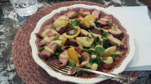 Duck Breast Salad with Market Greens and Tomatoes