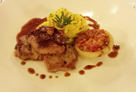 Veal Medallions with Black Truffle Demi-glace, Grilled Artichoke Stuffed with Ratatouille and Tagliolini