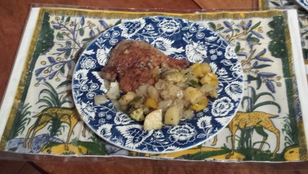 Dinner - Roasted Duck Leg with Potatoes, Onion, Yellow Pepper and Zucchini