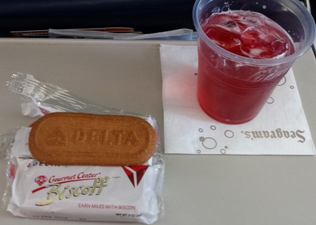 Spekuloos Cookies and Cranberry Juice Aboard Delta Flight to Charleston