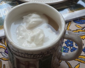Chai Tea with Spoonfuls of Coconut Whipped Cream