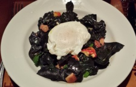 Farfalle Nero with Poached Egg