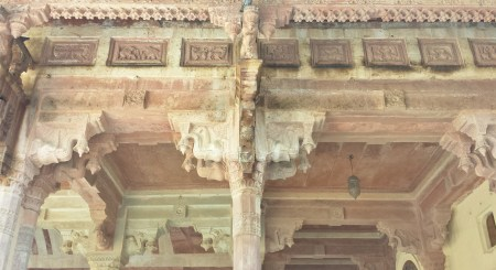Ornate Arches Above Hall of Public Audience (Diwan-i-Aam} at Amber Fort