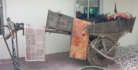 Antique Wagon and Textiles