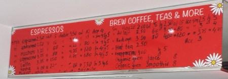 Buongiorno Espresso Bar Handwritten Menu