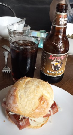 Lunch of Pastrami Hot Dog and Artisanal Root Beer
