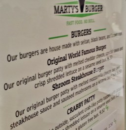 Marty's V Burger Menu