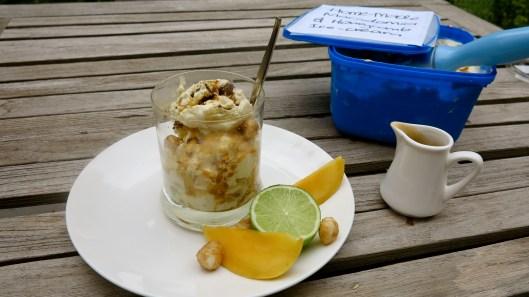 Macadamia and Honeycomb Ice-cream with mango