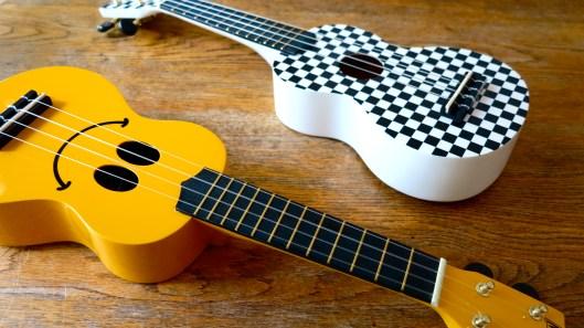 ukuleles - smiley face & retro