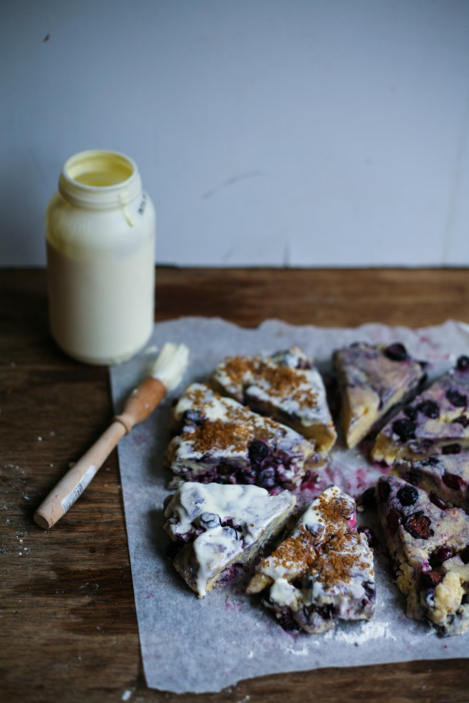 Wholemeal Blueberry Scones with Lemon Curd