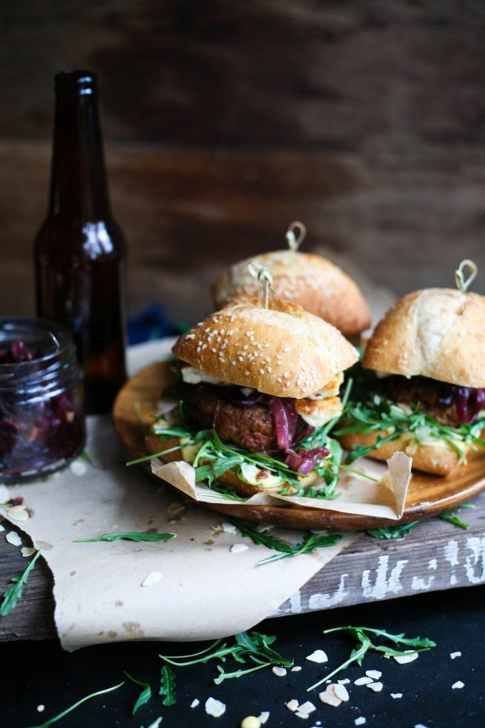 harissa lamb halluomi burger