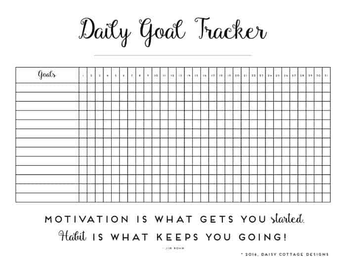 Daily Habit Tracker A Printable Goal Tracker - Daisy Cottage Designs - sample goal tracking