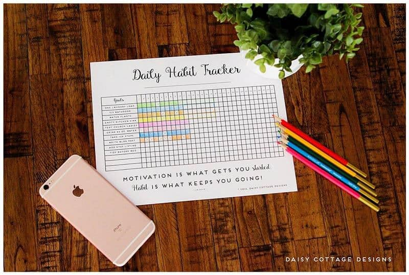 Daily Habit Tracker A Printable Goal Tracker - Daisy Cottage Designs