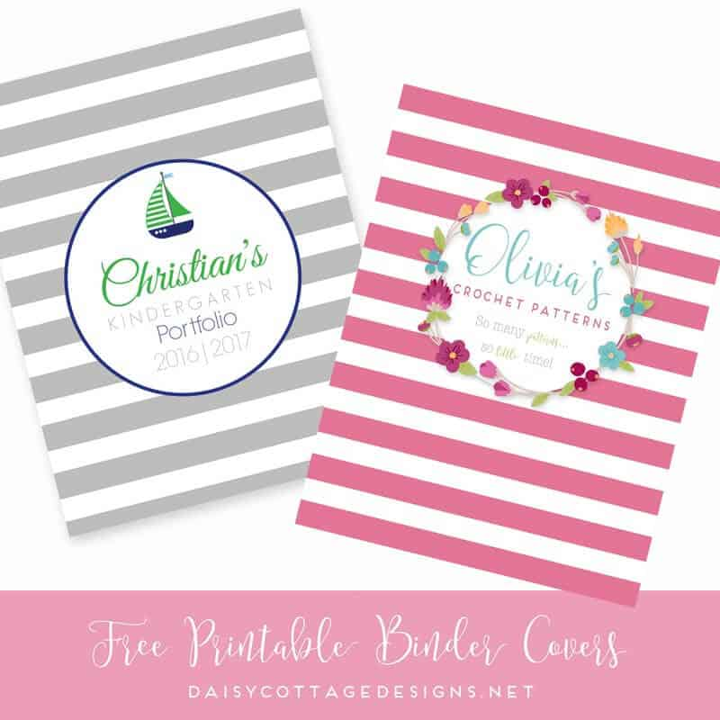 Printable Binder Covers from Daisy Cottage Designs