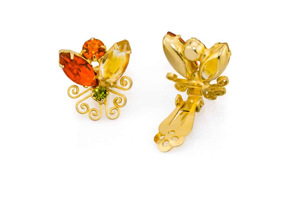 De Quotjulianaquot Orange Yellow Green Crescent Brooch And