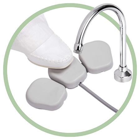 Pedal elétrico para torneira água, sabão e álcool