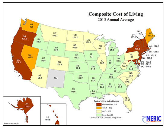 South dakota 2015 cost of living 102 5 of nat l average for Cost of living in iowa