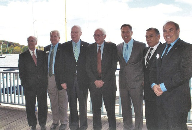Congressman Peter Welch, Bill Stenger, Senator Patrick Leahy, Senator Bernie Sanders, Governor Shumlin Ariel Quiros, and Quiros's lawyer William Kelly at a September 2012 press event in Newport, Vermont, promoting EB-5 projects. Photo from Bill Stenger, via Seven Days.