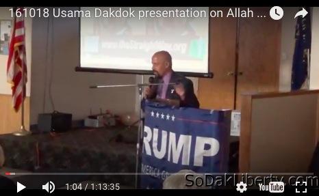 Usama Dakdok and Trump banner, Aberdeen, SD, 2016.10.18, screen cap from SoDakLiberty.com