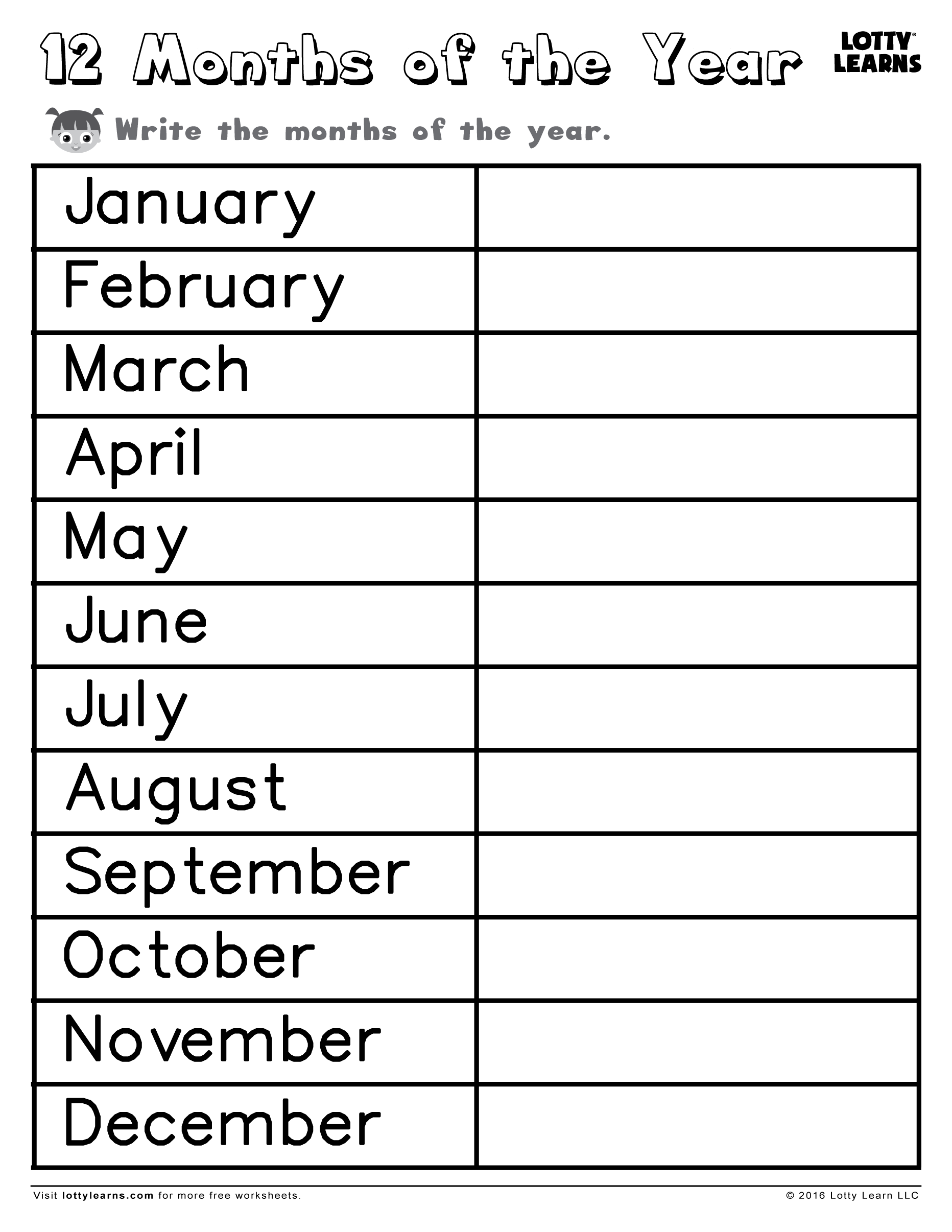 Los Meses En Ingles Worksheet For Months Of The Year
