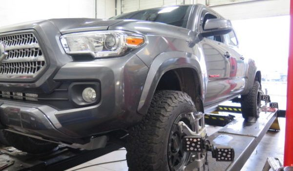 '16 Tacoma 4×4 gets a TRUXXX Level Off Kit and SPC Upper Control Arms at Dales Auto Service
