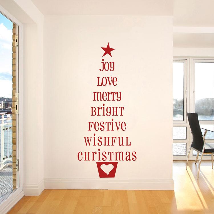 Christmas Tree Words - Joy Love Merry Festive - Holiday Wall Decals - christmas tree words
