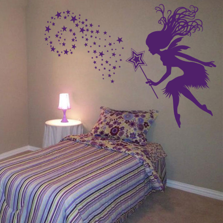 The Yellow Wallpaper Nursery Quotes Fairy With A Magical Wand Amp Stars Wall Decals