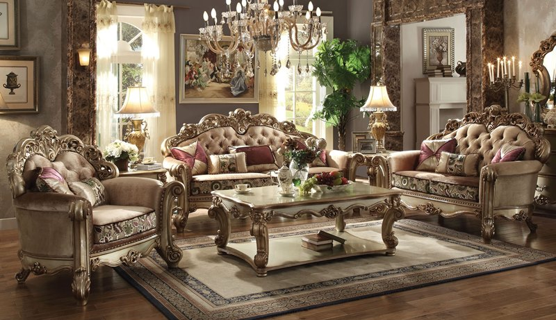 Baroque Sofa Set Acme | 53010 Vendome Formal Living Room Set In Gold | Dallas Designer Furniture
