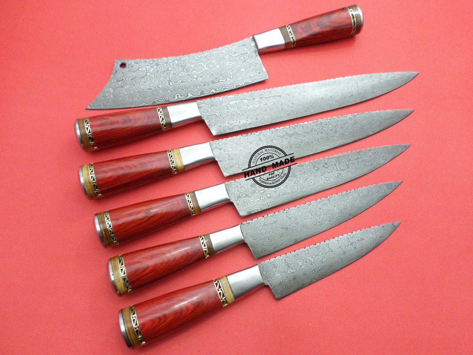 lot pcs damascus kitchen chef knives custom handmade knife kitchen knife custom handmade damascus steel kitchen chef knife