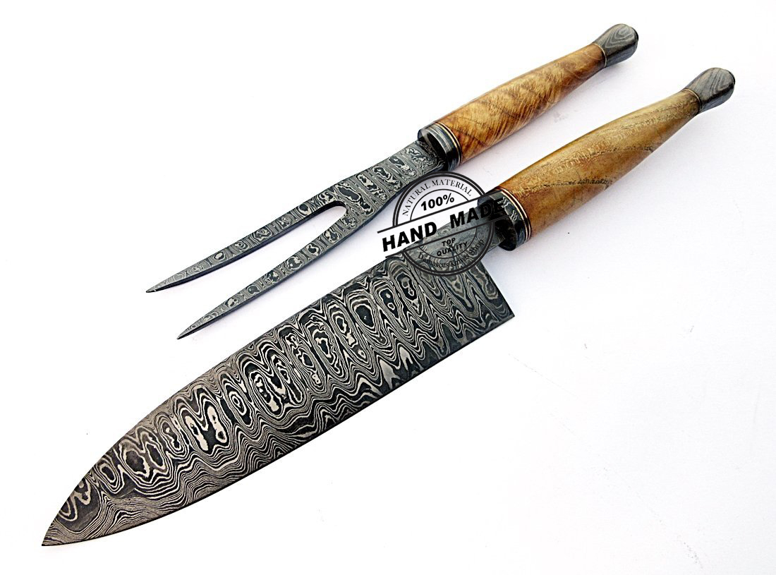Unique Kitchen Knife Sets Damascus Chef Knives Set Custom Handmade Damascus Steel