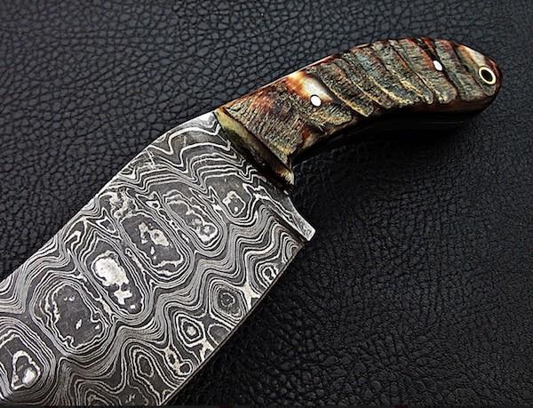 Damascus Steel Machete Knife Sheep Horn