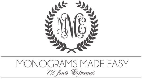 Monograms Made Easy 72 Fonts  Frames Damask Love