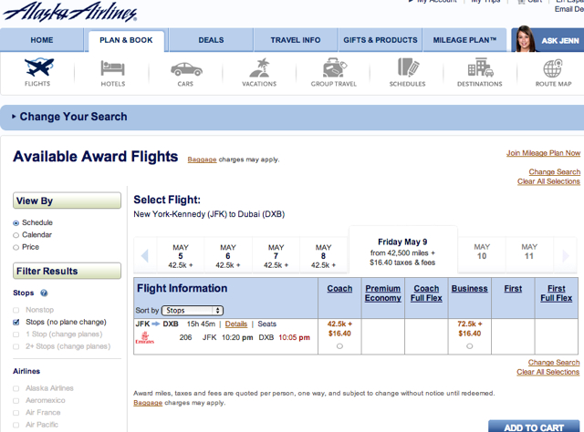 Alaska Airlines New Online Award Search for Emirates, Air France