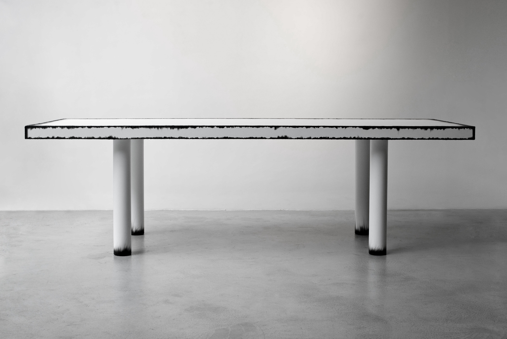 Table Metal Blanc Blanc Cassé Table Damien Gernay