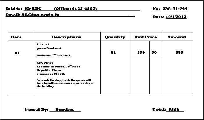 January 2012 Damien\u0027s Internship Blog - cash sales slip
