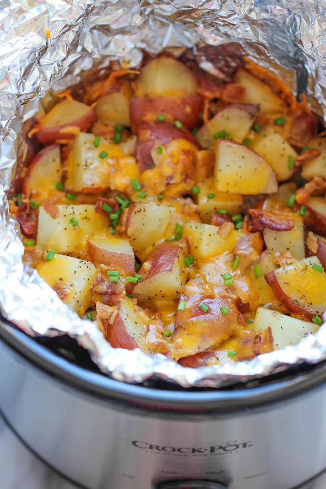 Slow Cooker Cheesy Bacon Ranch Potatoes - Damn Delicious