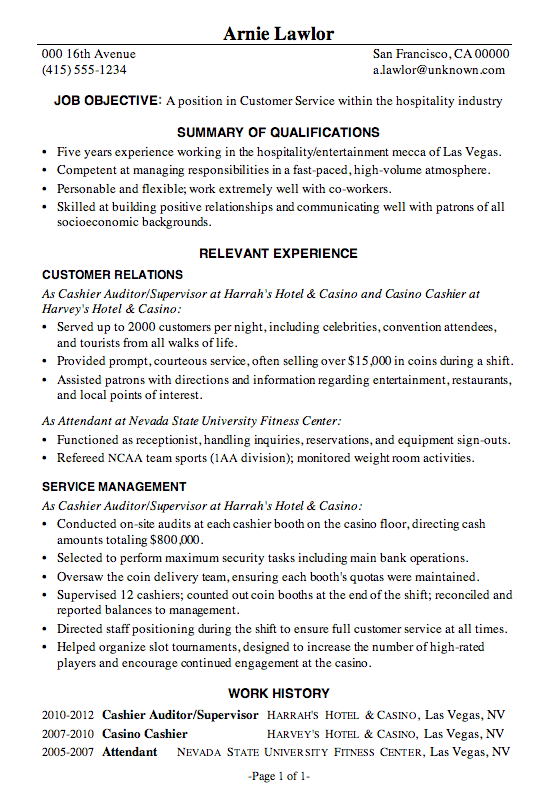 Examples Of Resume Objective Resume Samples Resume Sample Customer Service Hospitality