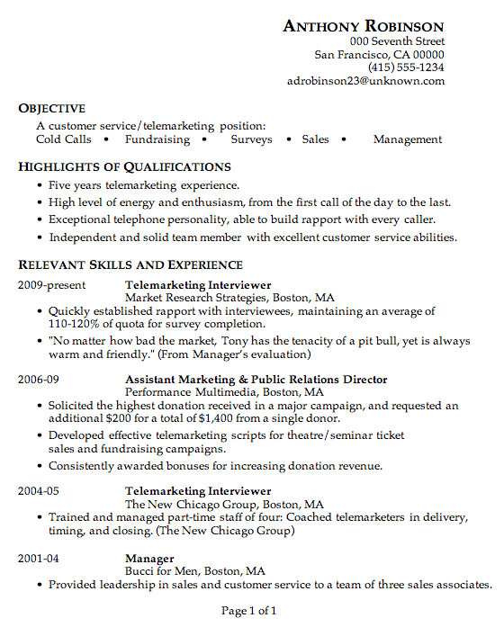 sample resume for telemarketing customer service