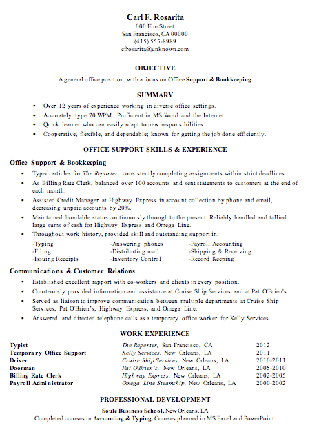 Bookkeeperreceptionist Full Time Position Admin Resume Sample Office Support And Bookkeeping