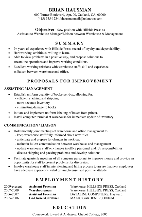 resume career objective for warehouse