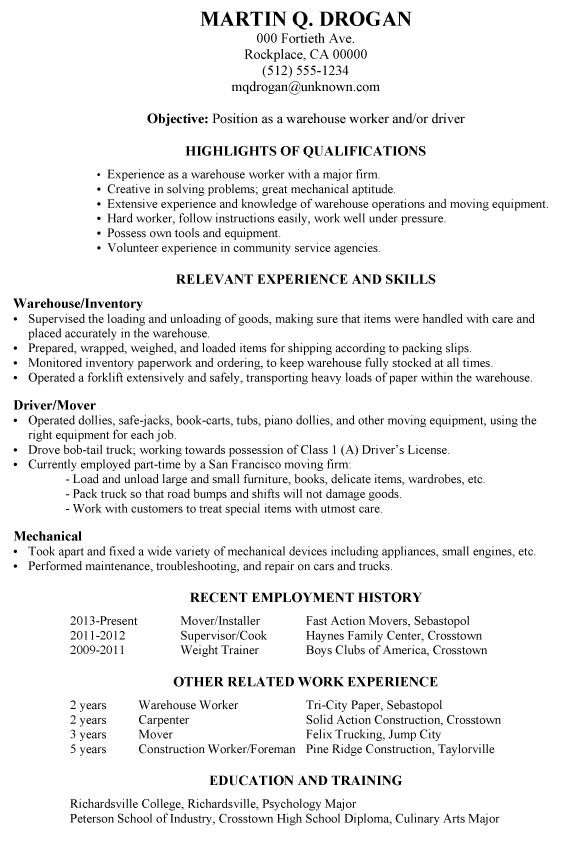 Forum Resume Format Cv Sample Indianjobtalks Resume Sample Warehouse Worker Driver