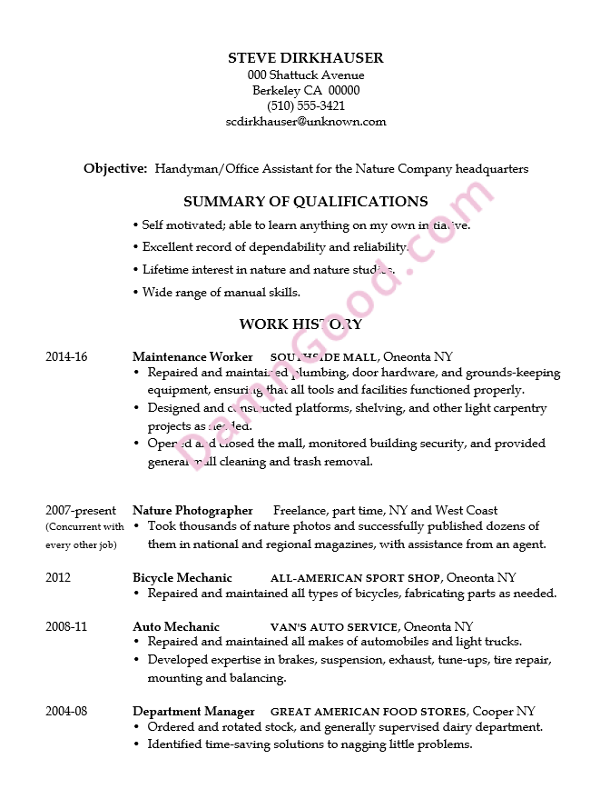 combination resume examples 2014